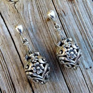 Sterling Silver Floral Scroll Finial Drop Earrings